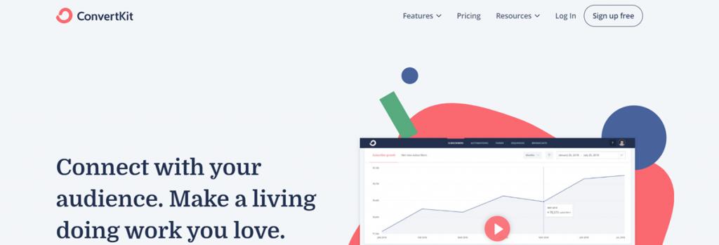 Convertkit Homepage Screenshot