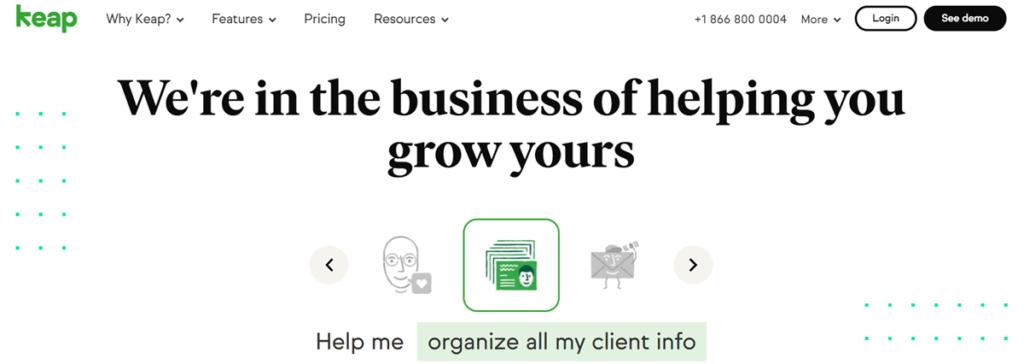 Keap Homepage Screenshot