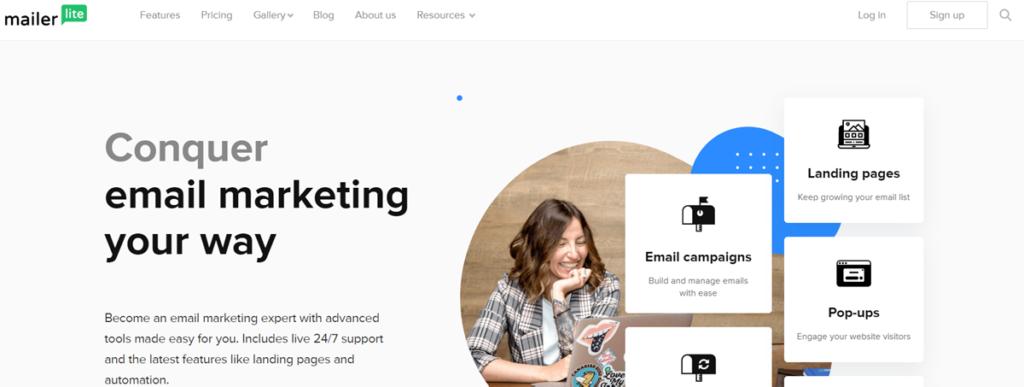 Mailerlite Homepage Screenshot