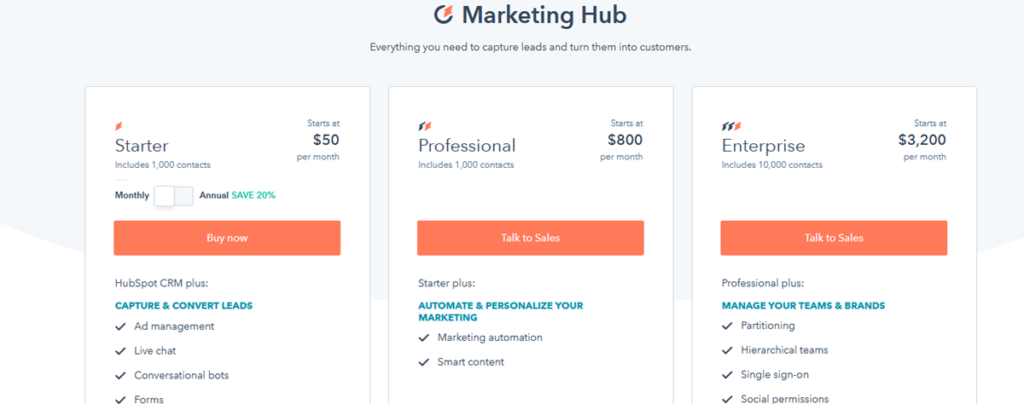 Pricing Plans Hubspot