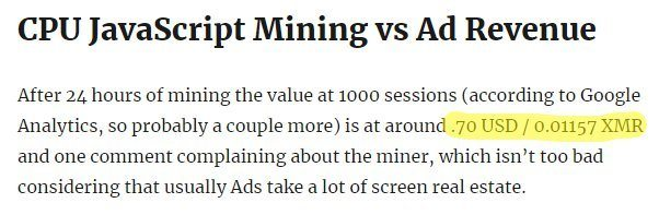 CPU JavaScript Mining vs Ad Revenue