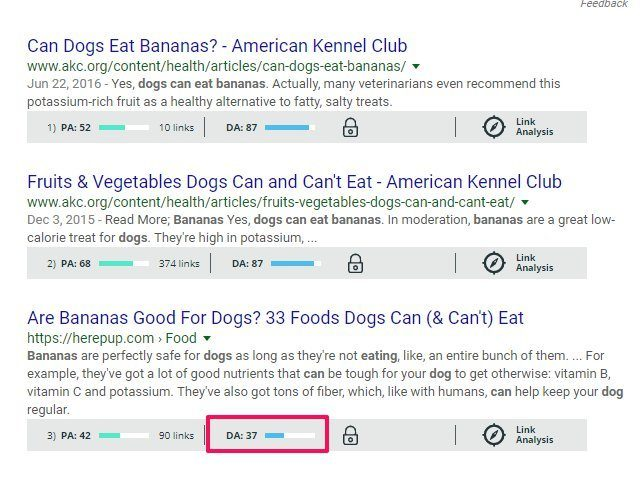 Google Search Results MozBar