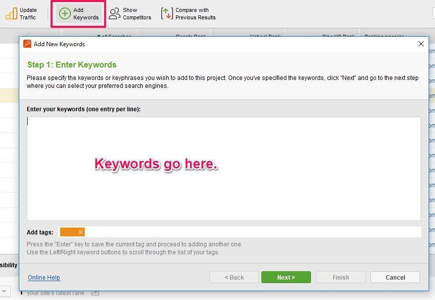 SEO Power Suite Keywords Adding