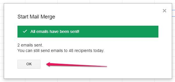 YAMM Email Merge Confirmation