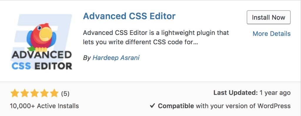 Advanced CSS Editor Plugin