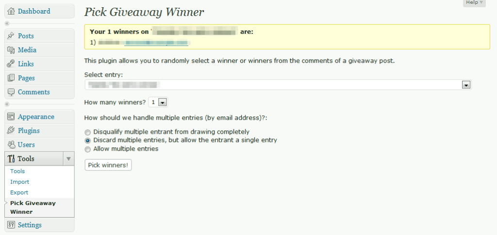 Pick Giveaway Winner WP Plugin