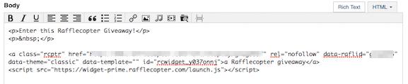 Rafflecopter HTML Code