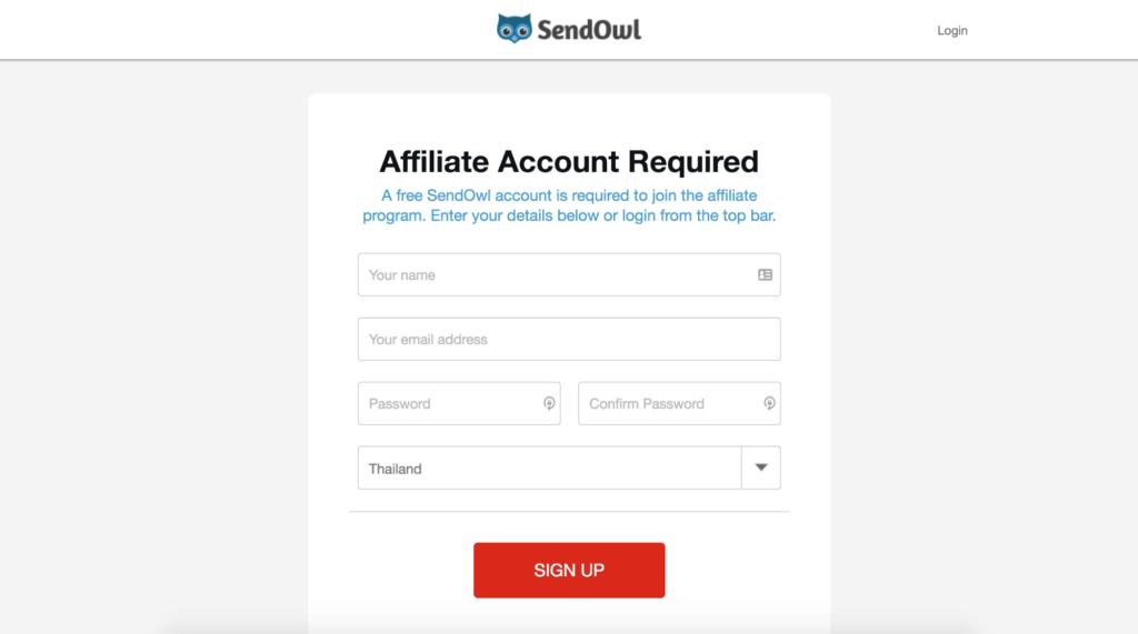 SendOwl Affiliate Account Sign Up