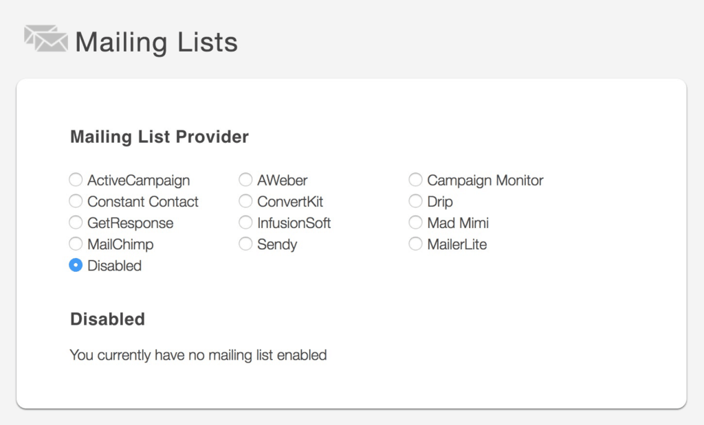 SendOwl Mailing List Providers