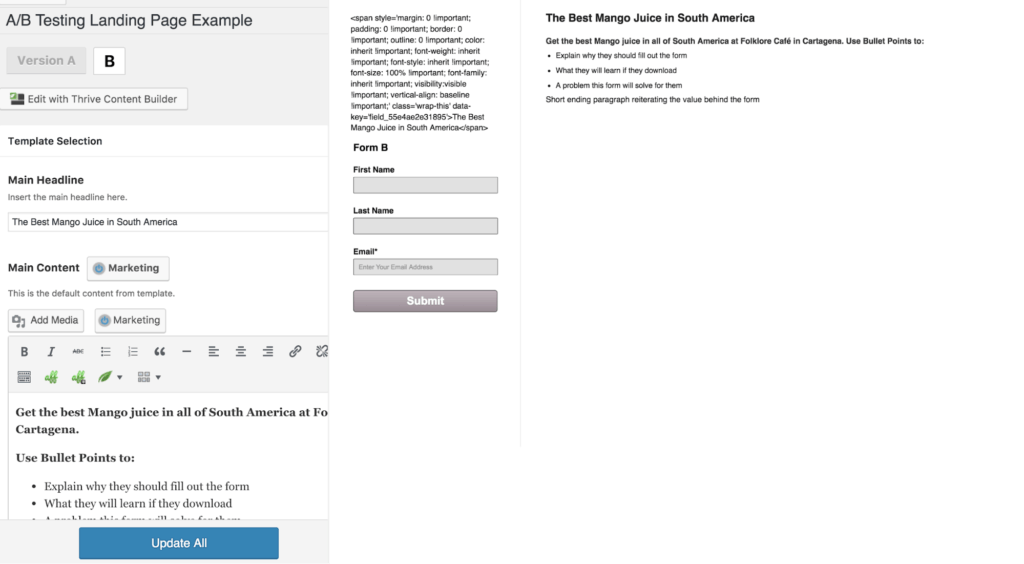 WP Landing Pages A:B Testing Example