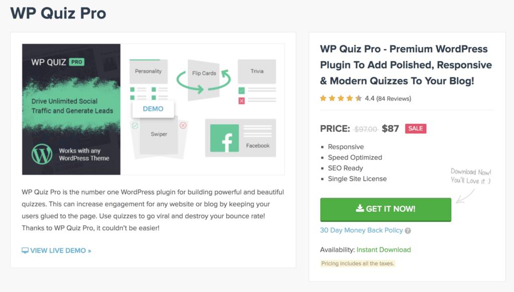 WP Quiz: WP Quiz Pro Plugin