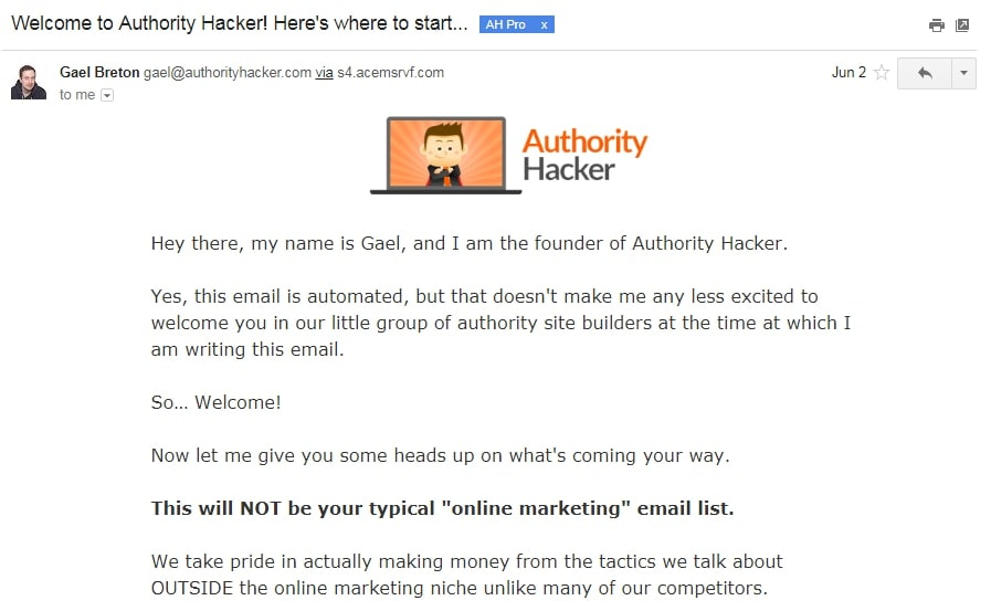 Authority Hacker Welcome Sequence Email