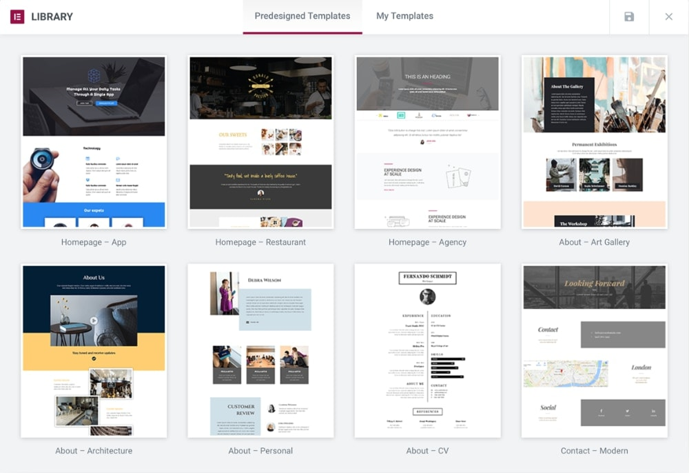 Elementor Page Builder Predesigned Templates