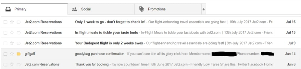 Emails from brands