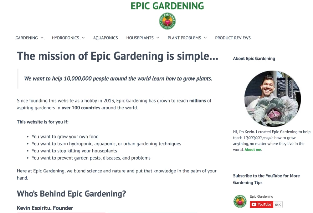 EpicGardening.com about page
