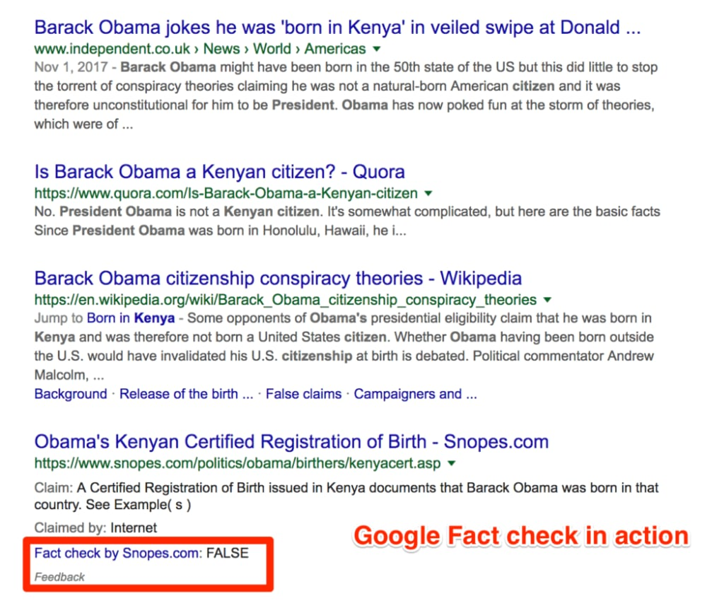 Google Fact check in action