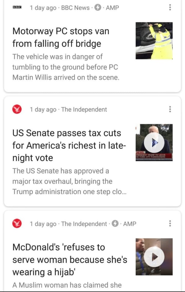 Example of a Google News feed on Android