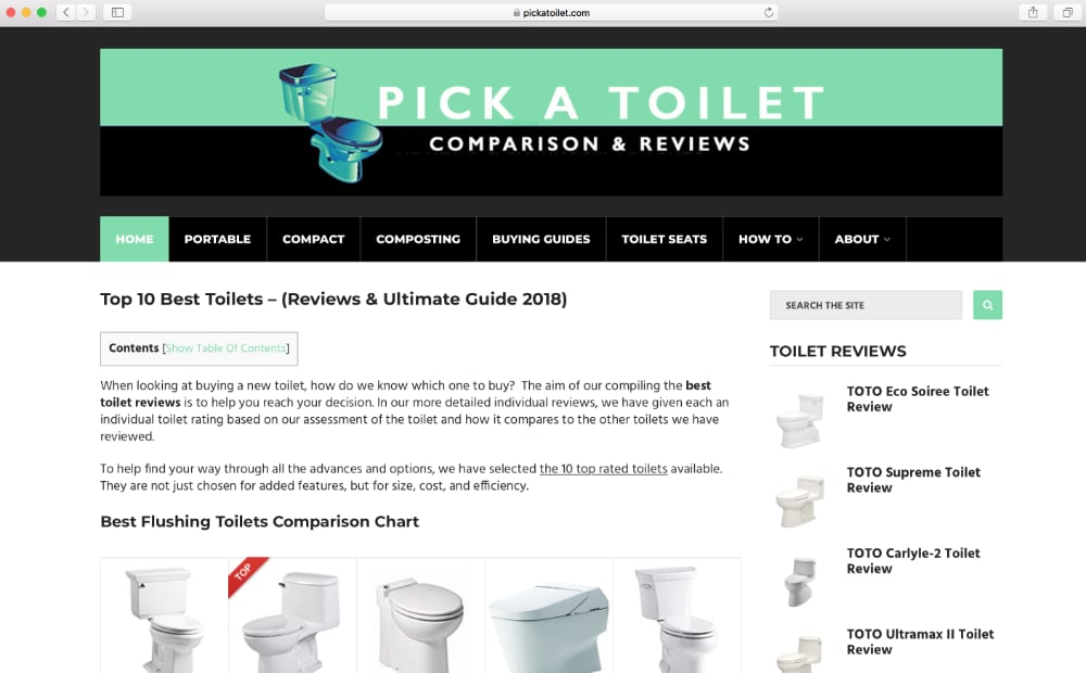 Pick A Toilet homepage