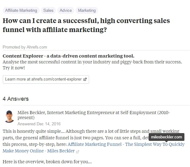 Quora Affiliate Marketing answer from Miles Beckers