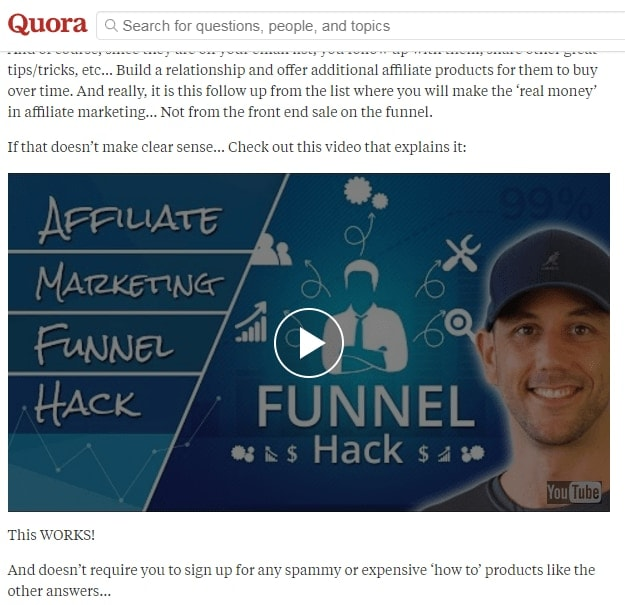 Quora Affiliate Marketing video answer from Miles Beckers