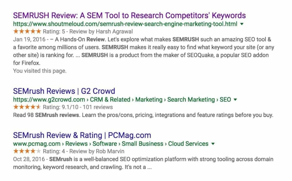 SEMRush Serps