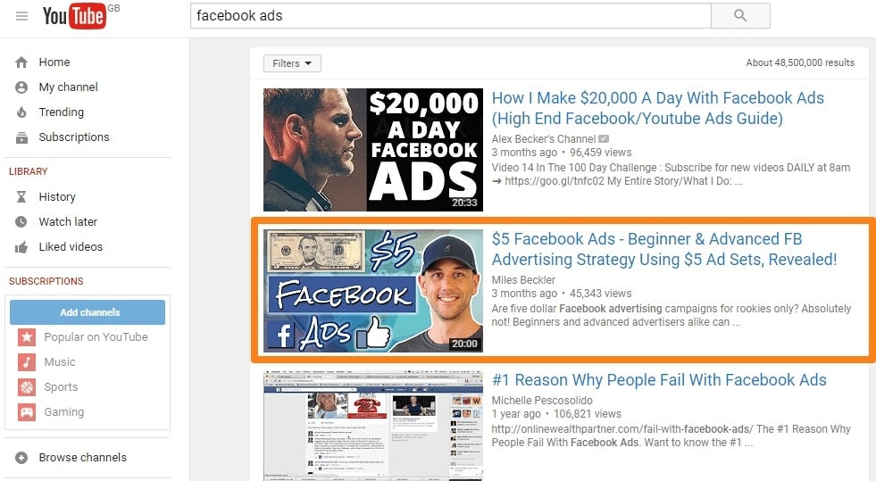 Youtube Facebook Ads video from Miles Beckler
