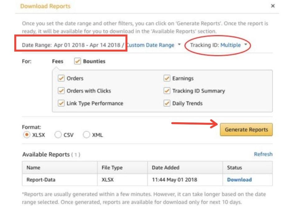Amazon Associates Generate Reports