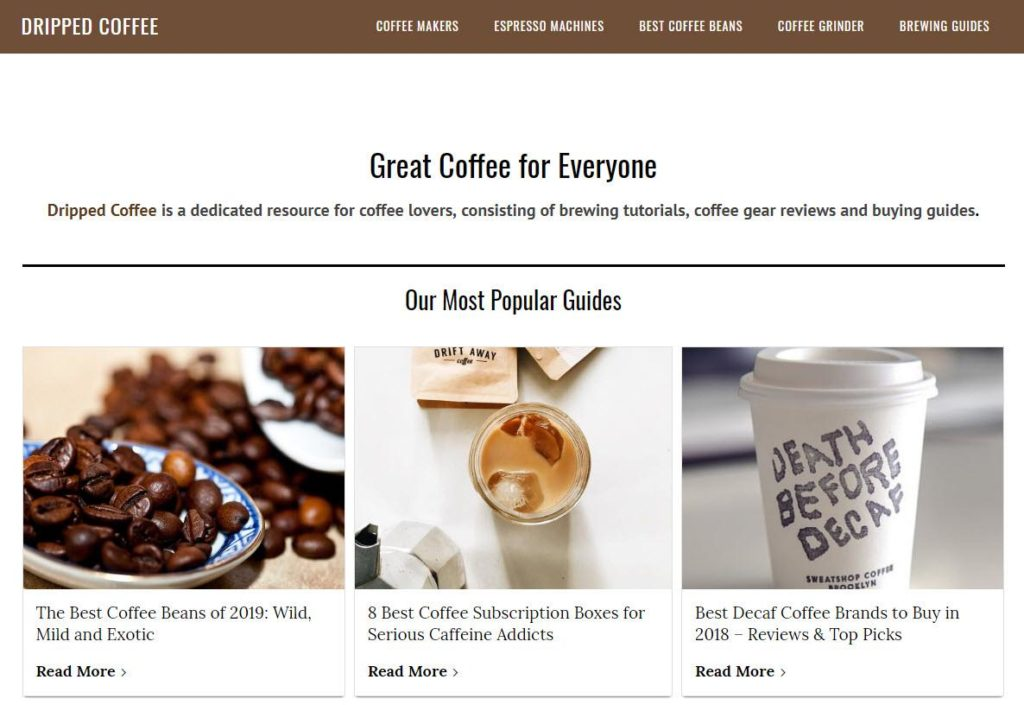 Dripped Coffee homepage