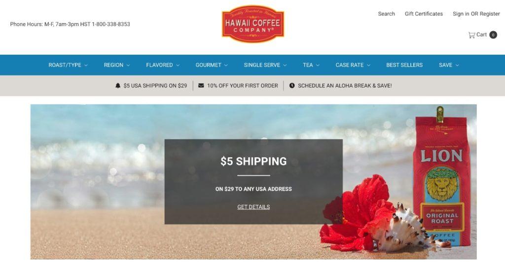 Hawaii Coffee Company Homepage