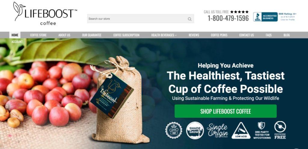 Lifeboost Coffee Homepage