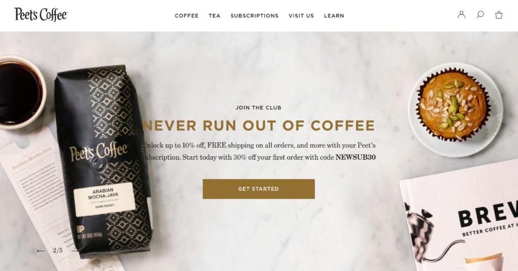 Peet's Coffee Homepage