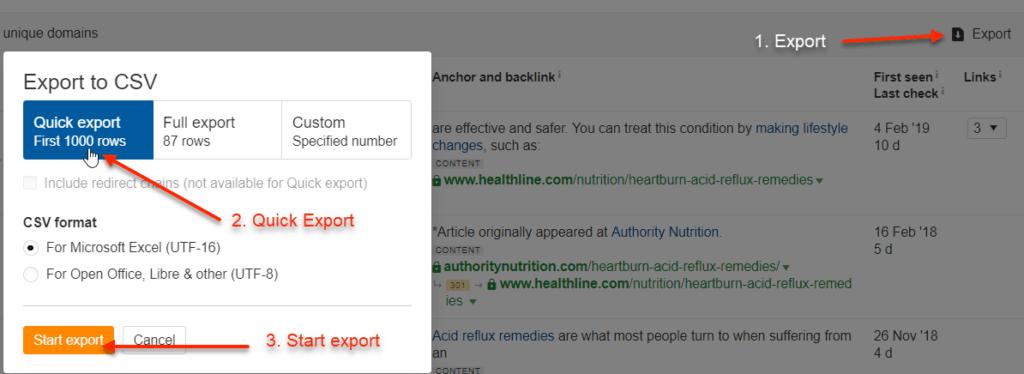Ahrefs Baklinks Export