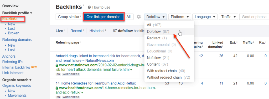 Ahrefs Dofollow Backlinks