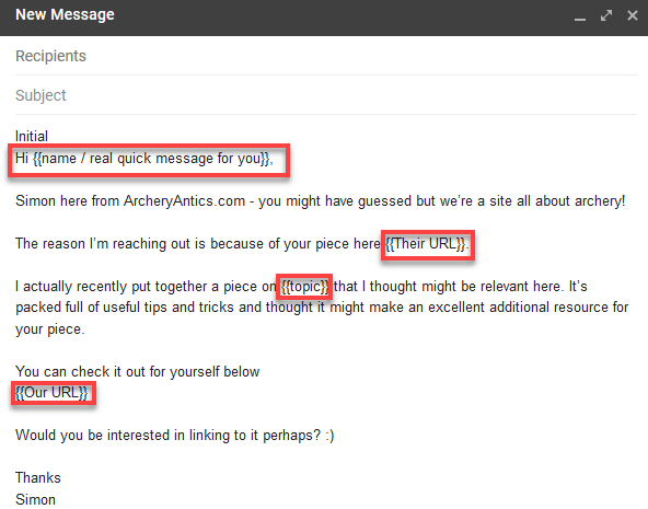 Outreach Email Template Example