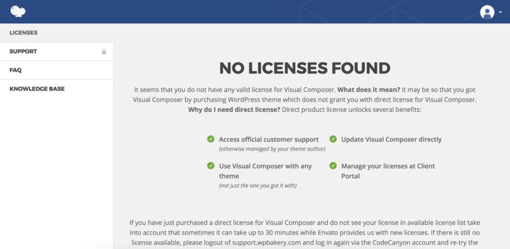 Visual Composer License Search