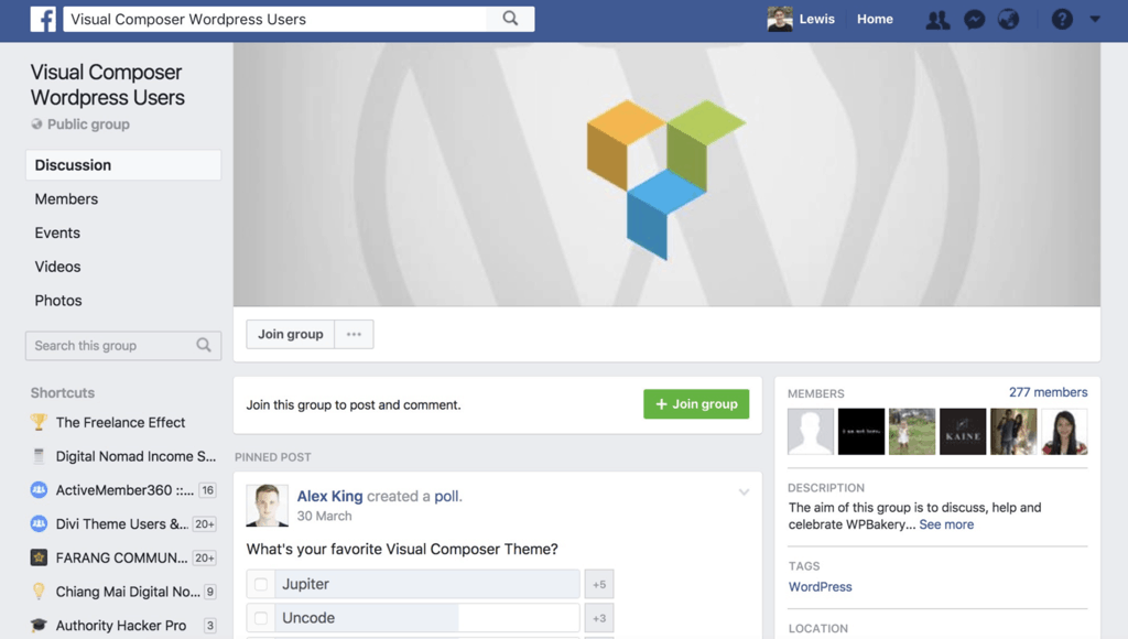 Visual Composer WordPress Users Facebook Group