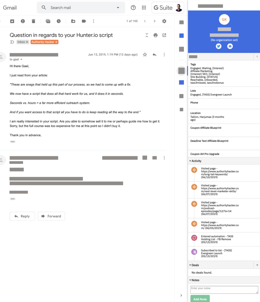 Activecampaign Gmail Extension