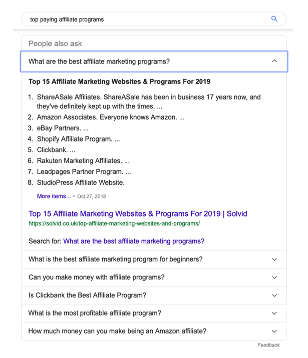 Affiliate Programs Featured Snippet