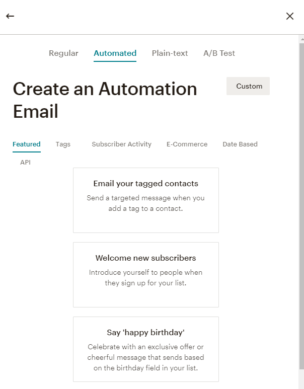 Create Automation Email in Mailchimp