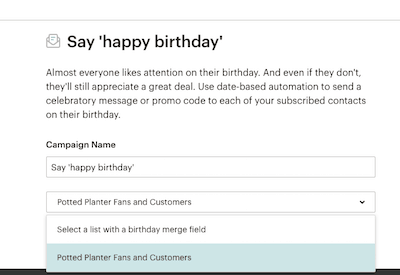 Happy Birthday Email in Mailchimp