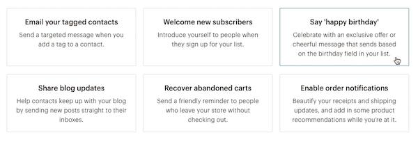Mailchimp Automation Options