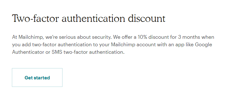 Mailchimp Two Factor Authentication Discount