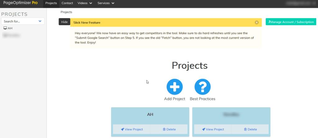 Pageoptimizer Pro Dashboard