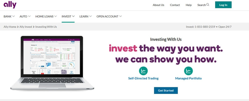 Ally Invest Homepage