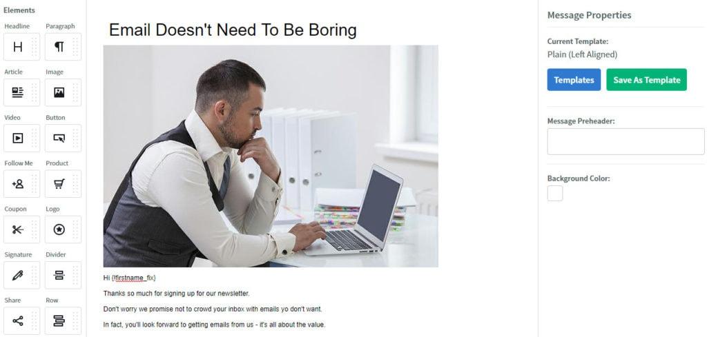 Aweber Visual Email Editor