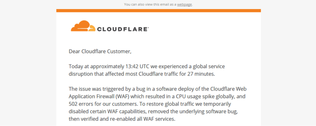 Cloudflare 502 Outage