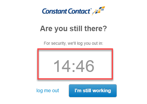 Constant Contact Logout Timer