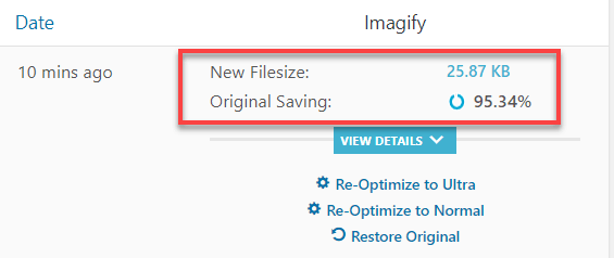 Imagify Agressive Settings Optimization Result