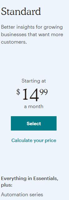Mailchimp Standard Pricing Plan