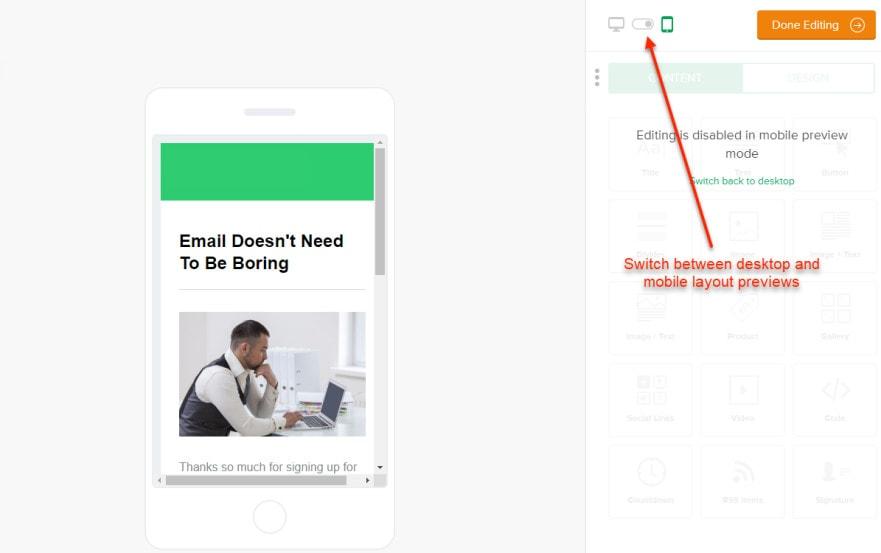 MailerLite Mobile Preview